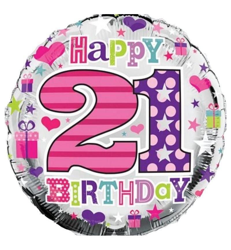 Happy 21 Birthday Foil Helium Balloon
