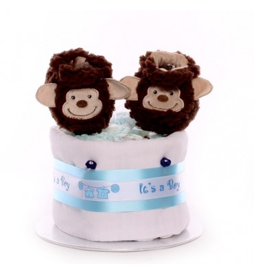Small nappy cake with booties.