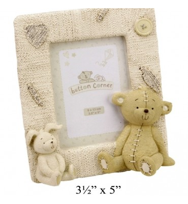 "Button Corner Resin Photo Frame Bear & Rabbit 3.5"" x 5""."