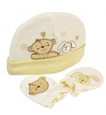 Button Corner Embroidered Hat & Mitt Set