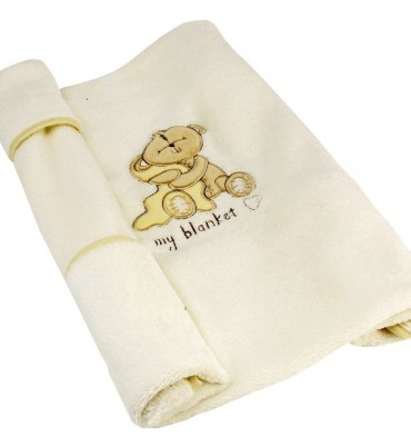 Button Corner Embroidered Baby Blanket 70 cms x 70 cms.