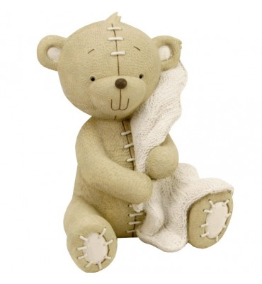 Button Corner Resin Money Bank Bear with Blanket 17cm.