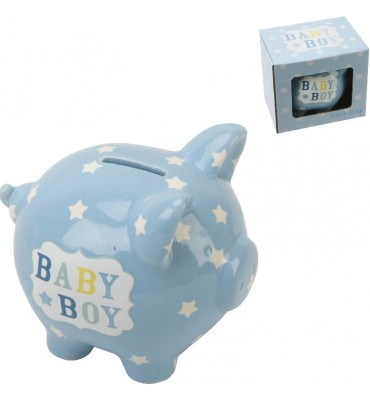Heart & Star Piggy Bank - Baby Boy.
