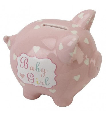 Heart & Star Piggy Bank - Baby Girl