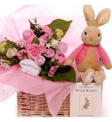 Floppy Rabbit Baby Bouquet Basket.