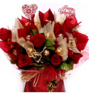 Red Roses and Ferrero Rocher Chocolates Bouquet.