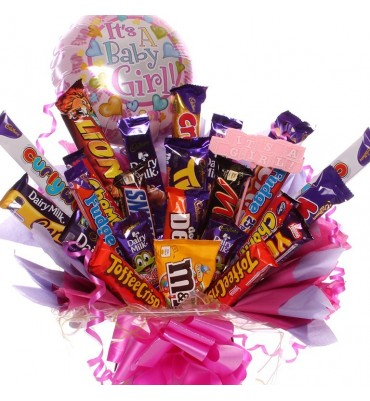 Baby Girl extra large Chocolate Bar Bouquet.
