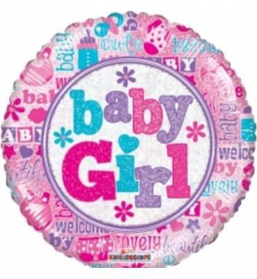 Baby Girl 18 inch Helium Foil Balloon.