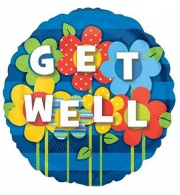 Get Well Helium Balloon with Flower Design.