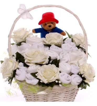 Luxury Neutral Paddington Bear Baby Bouquet Basket.