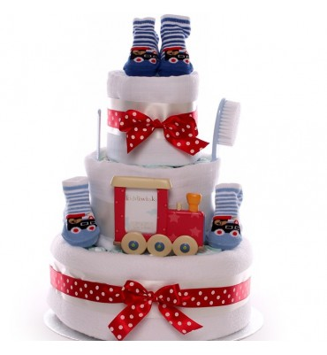 Little Train Nappy Cake Bright and Colourful For A Baby Boy.