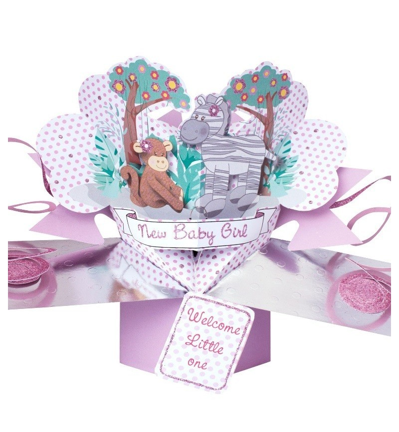 3D Pop Up Card Jungle Friends Baby Girl.