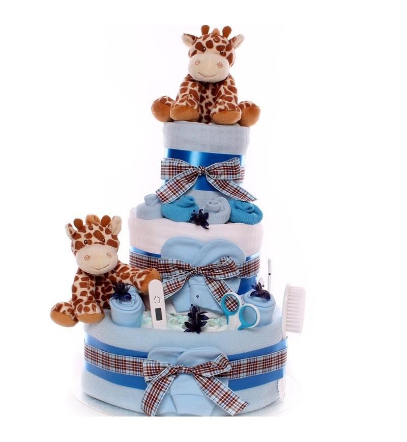 Twins Nappy Cake Baby Boys - Giraffe Soft Toys.