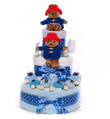 Nappy Cake Twin Boys Paddington Bear Theme.