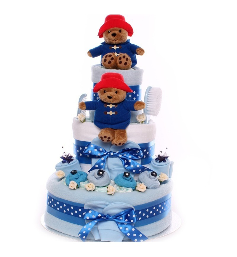 Nappy Cake Twin Boys Paddington Bear Theme