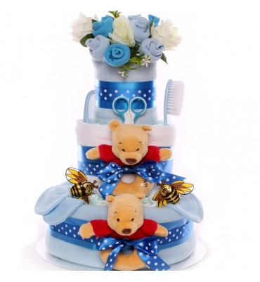 Nappy Cake For Twin Boys - Pooh Bear Themed.