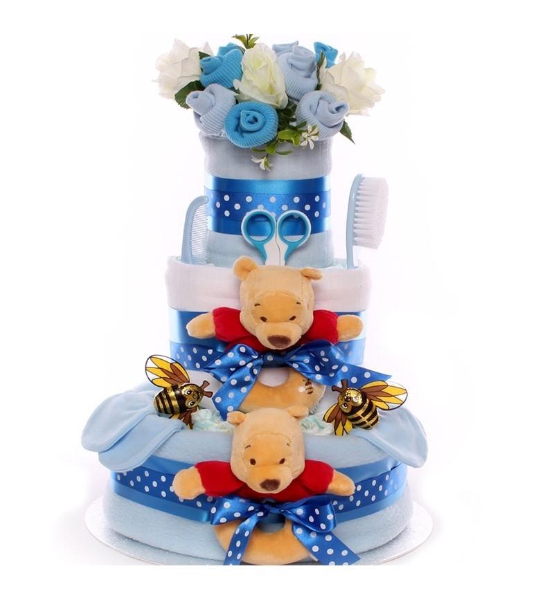 Nappy Cake For Twin Boys - Pooh Bear Themed.