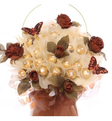 Luxury Ferrero Rocher Bouquet With Brown Roses.