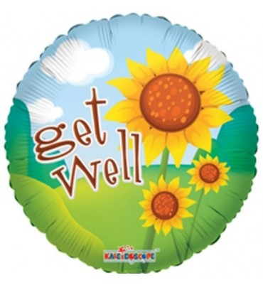 Get Well Helium Balloon With Sunflower Design.