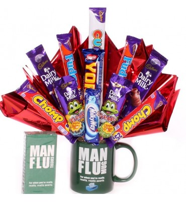 Man Flu Mug with a Chocolate Bouquet.
