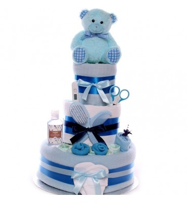 Teddy Bear Nappy Cake For A Baby Boy.