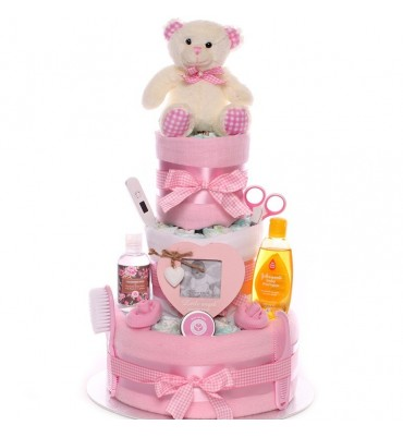Traditional Baby Girl Nappy Cake.