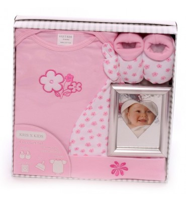 Boxed Gift Set For A Baby Girl With Photo Frame.