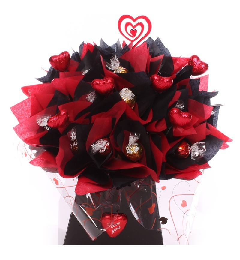 Lindt Lindor Chocolate Bouquet With Wine Option