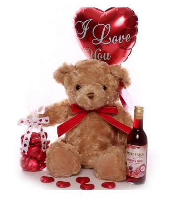 Teddy, Wine, Chocolate Hearts and I Love You Balloon.