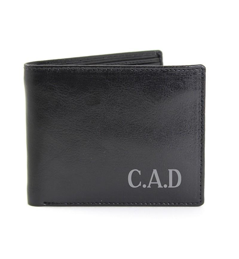 Personalised Black Leather Wallet