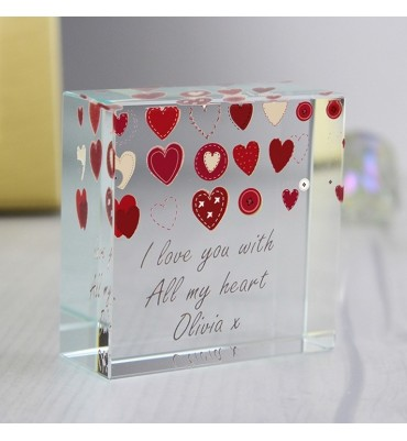 Personalised Hearts Design Crystal Token