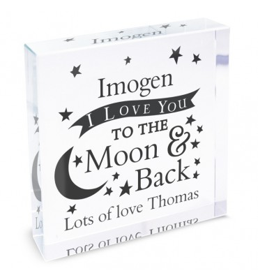 Love You To the Moon and Back... Personalised Large Crystal Token.
