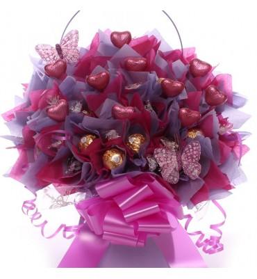 Ferrero Rocher and Lindor Bouquet with Pink Chocolate Hearts.