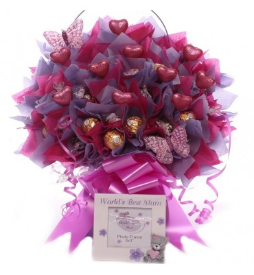 World's Best Mum Chocolate Bouquet With Photo Frame.