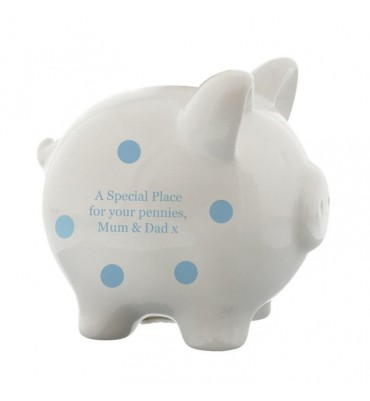 Personalised Blue Piggy Bank for a little boy