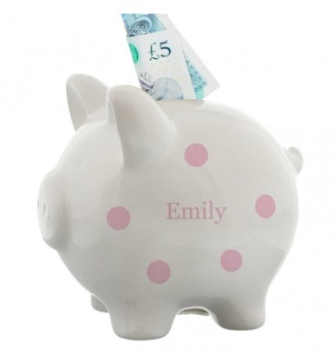 Personalised Pink Piggy Bank for a little girl
