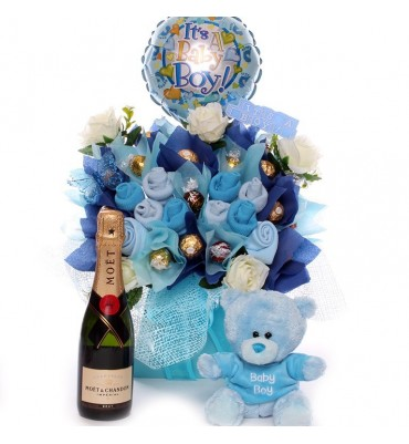 Baby clothing and chocolate bouquet with Champagne and Teddy.