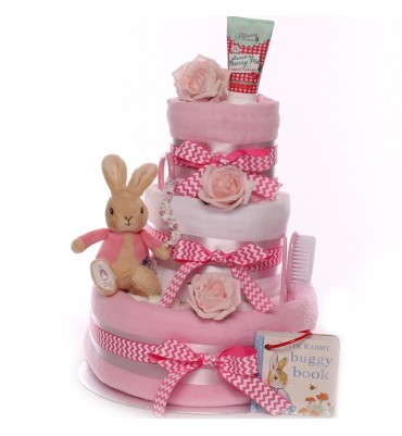 Peter Rabbit and Flopsy Rabbit Nappy Cake Baby Girl.