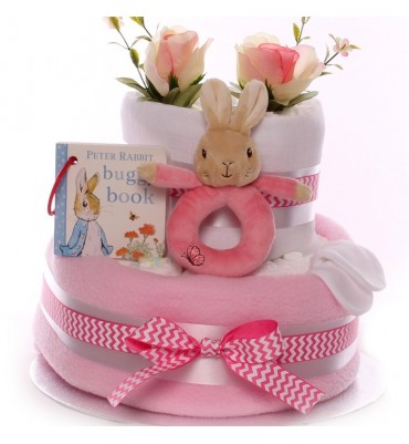 Peter Rabbit Nappy Cake with Buggy Book and Flopsy Ring Rattle.