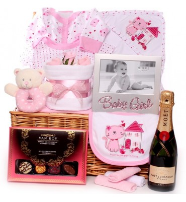 Champagne and Luxury Chocolates Baby Hamper.