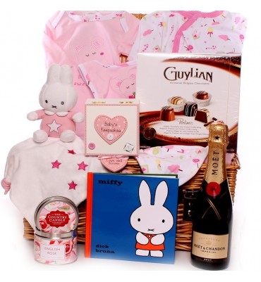 Champagne and Chocolates Miffy Baby Hamper Girl.