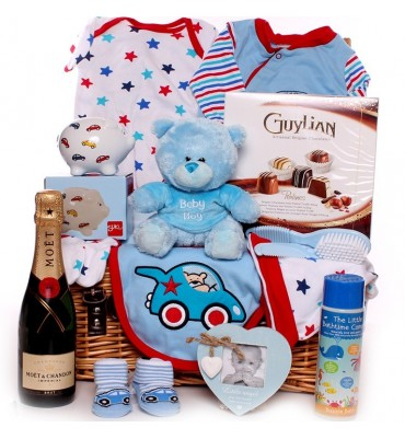 Champagne and Chocolates Baby Boy Hamper.