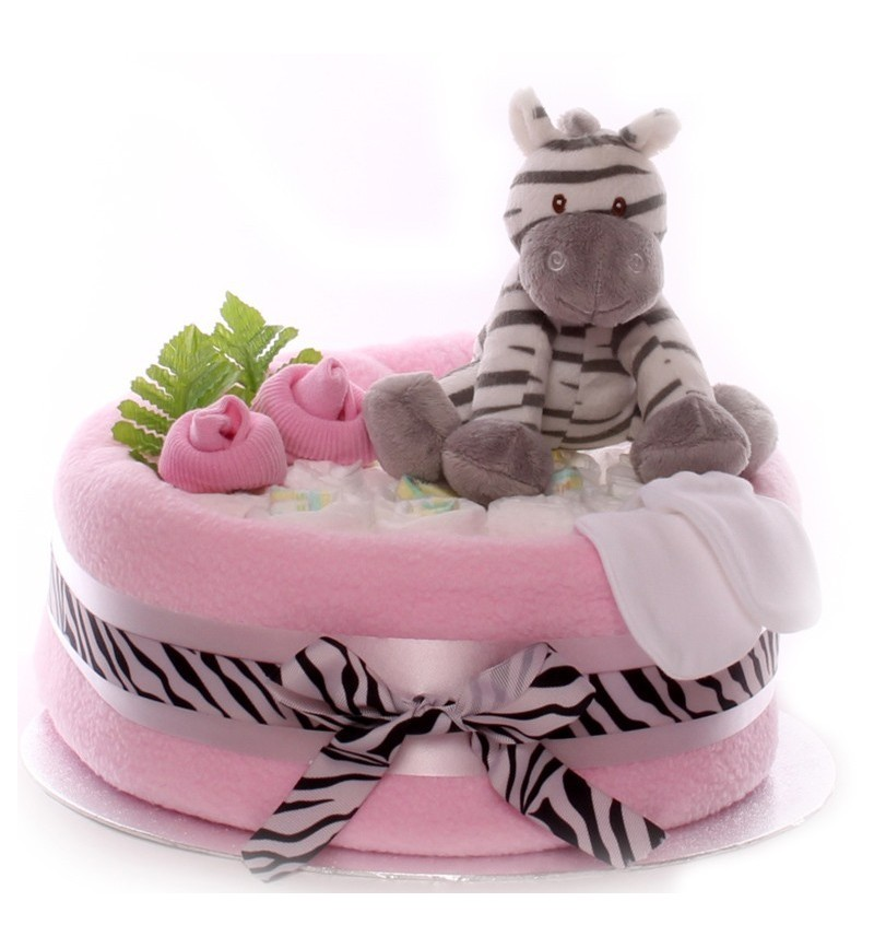 Pleasant One Tier Nappy Cake For A Baby Girl Personalised Birthday Cards Epsylily Jamesorg