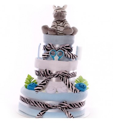 Zebra Nappy Cake Large Boy