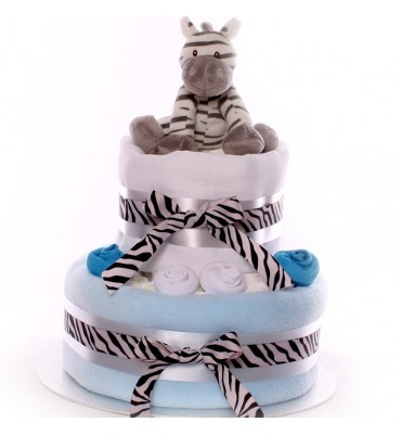 Zebra Nappy Cake Medium Size Boy