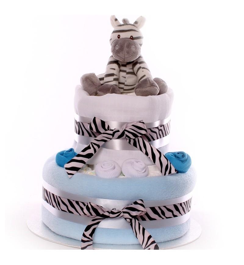 Zebra Nappy Cake Medium Size Boy