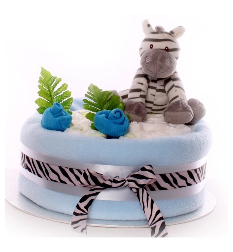 1 Zebra Nappy Cake Baby Boy.