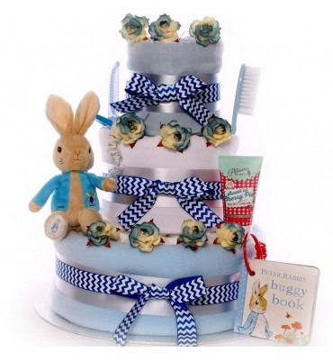 Peter Rabbit With Buggy Book Nappy Cake Baby Boy.