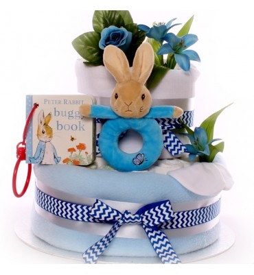 Peter Rabbit Nappy Cake with Buggy Book and Peter Rabbit Ring Rattle.