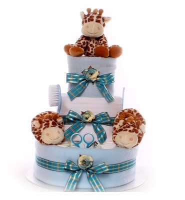 Baby Boy Nappy Cake 3 Tier with Suki Giraffe